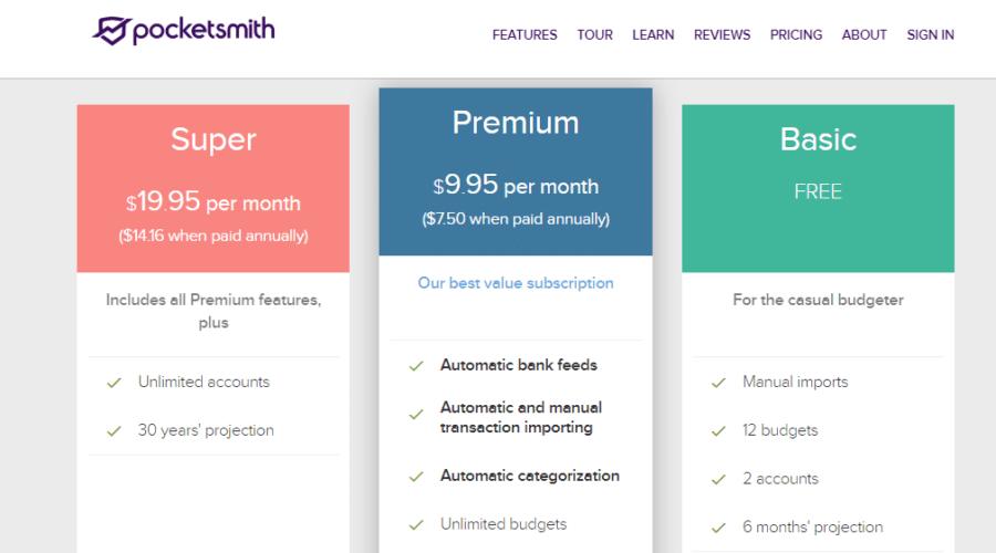 pocketsmith pricing
