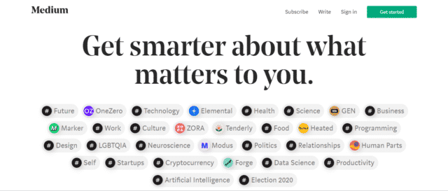 Medium home page screenshot