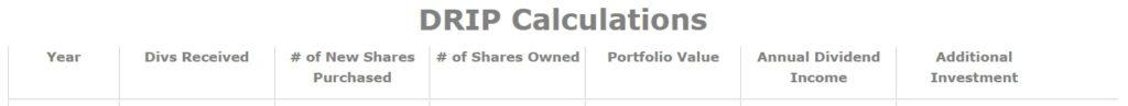 Dividend Reinvestment Plan Calculation