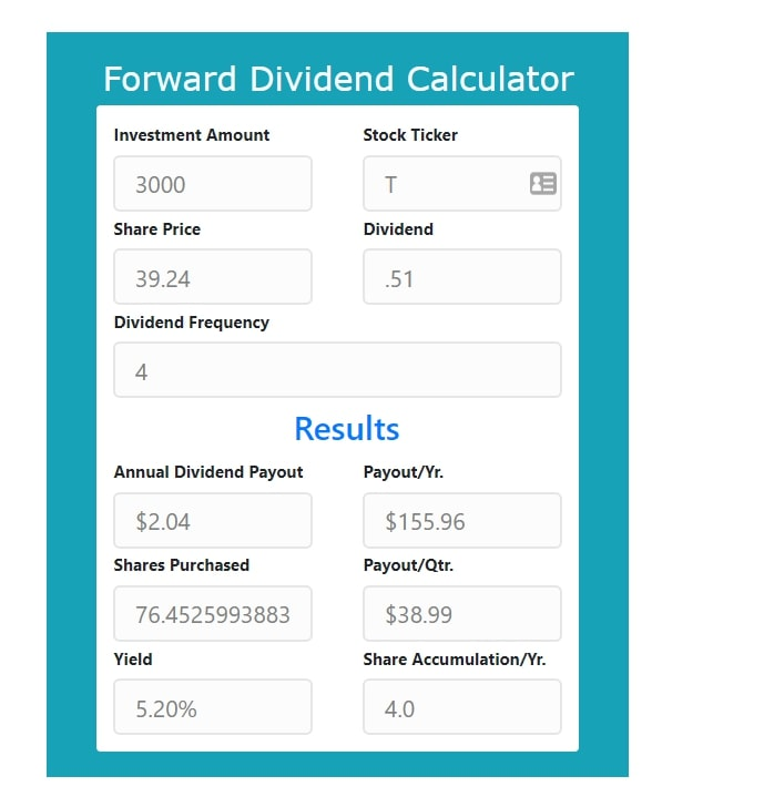 AT&T (T) Dividend Calculation - Purchase