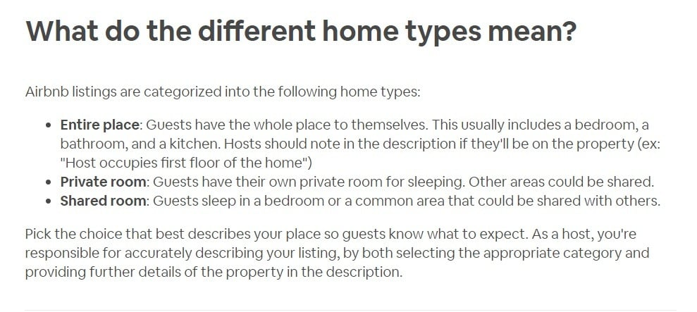 Airbnb Home Types