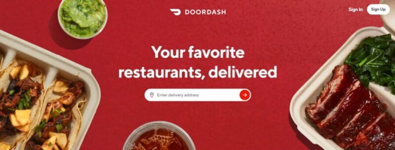 DoorDash website as one of the best Uber alternatives