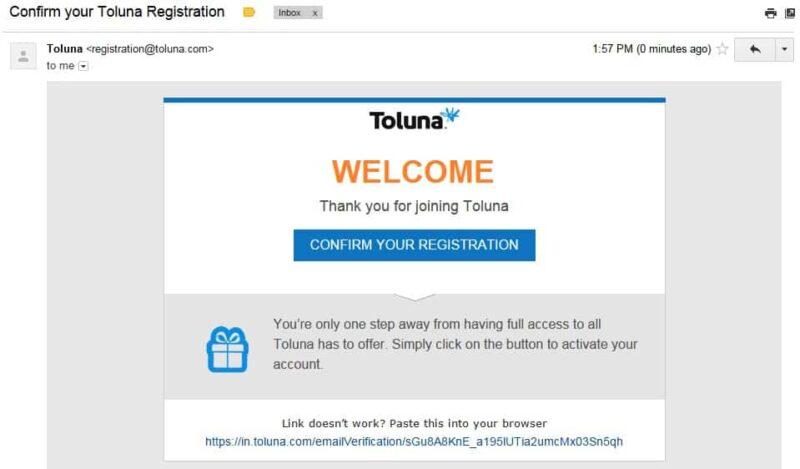 Verifica e-mail di Toluna
