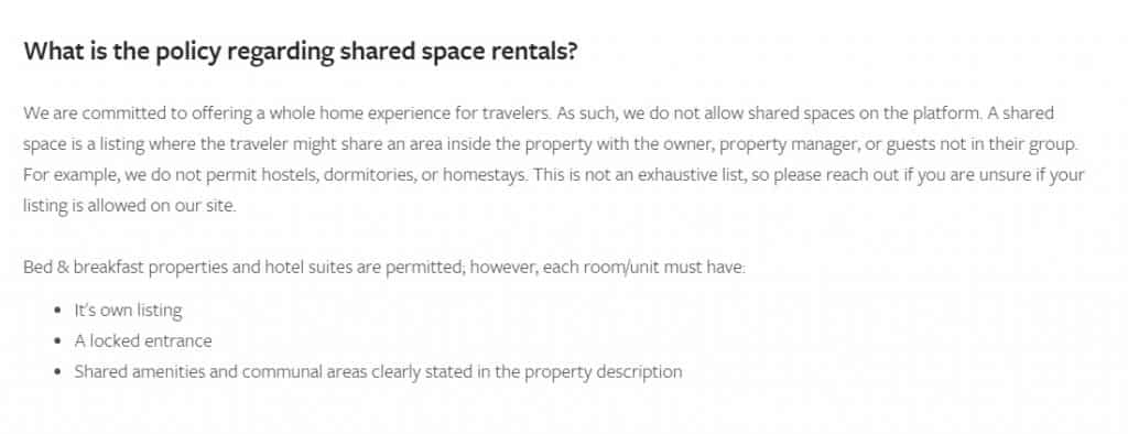 VRBO Shared Space Policy