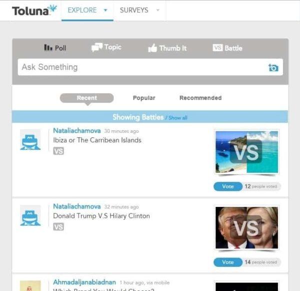 Ways to earn in Toluna