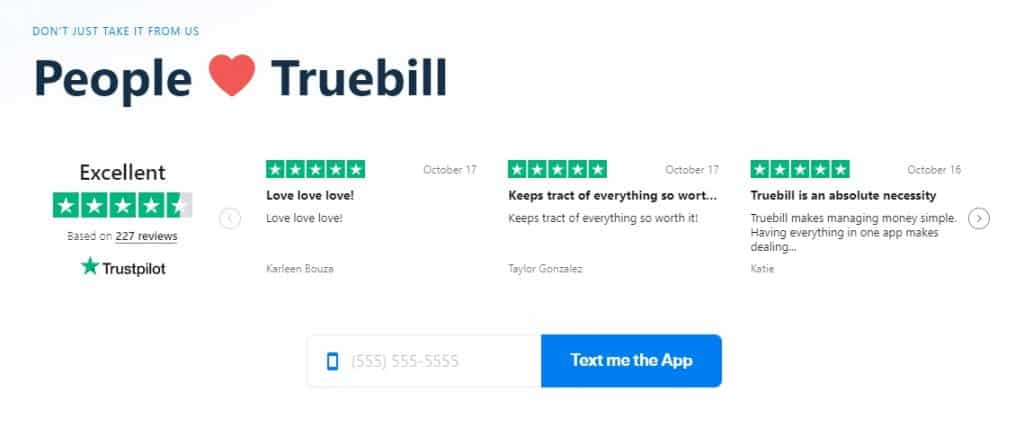 Truebill reviews