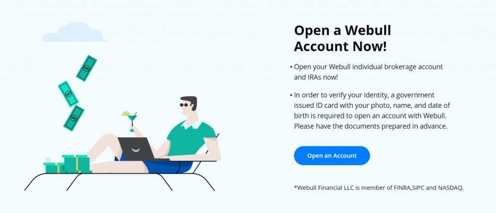 Opening an account on Webull