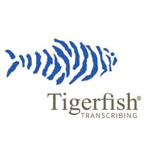Tigerfish transcribing logo