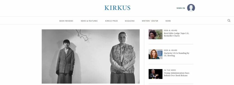 Kirkus Reviews homepage