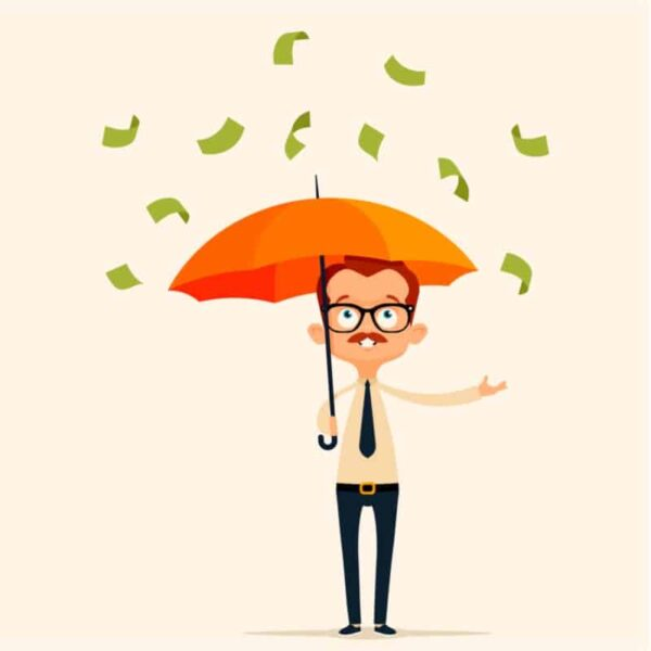 Man with Umbrella Raining Money
