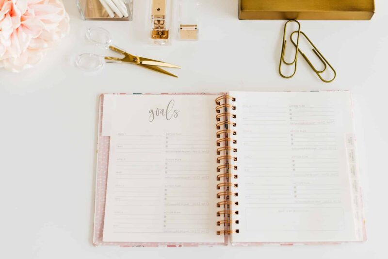 A planner on a white table