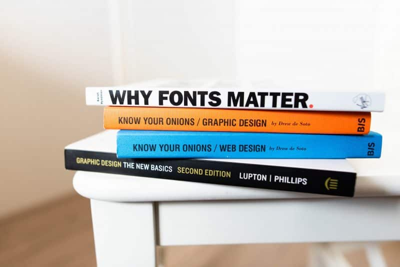 Book about fonts on a table