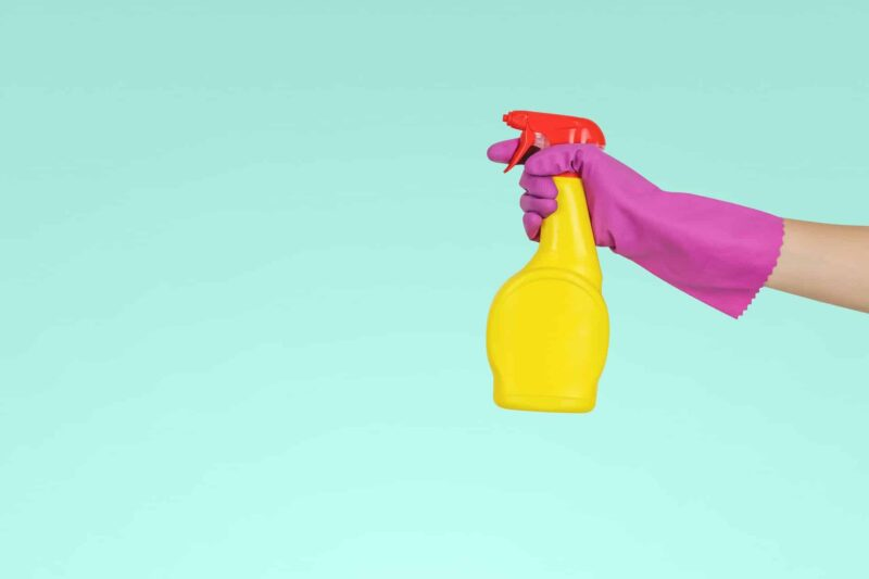 Maid holding a cleaning spray