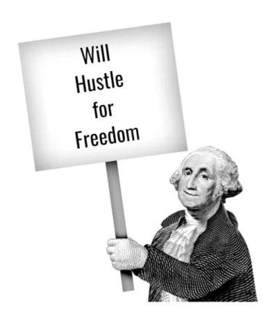 Benjamin Franklin Holding Sign