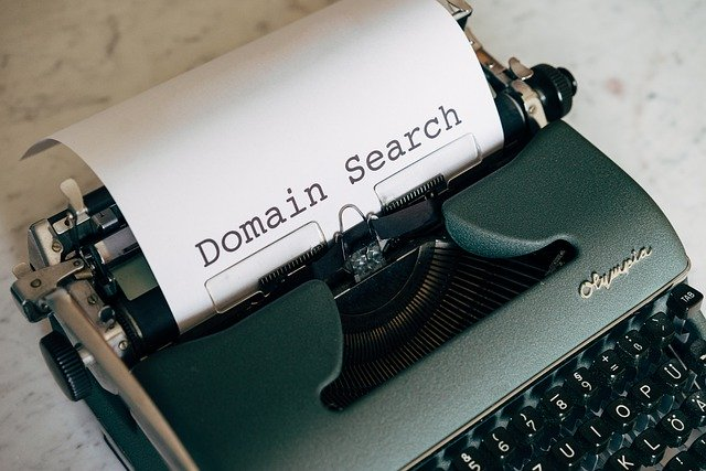 Domain search typed on keyboard
