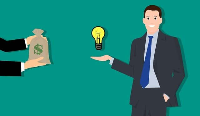 Illustration of a man getting paid for his idea