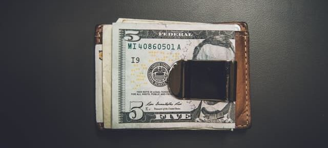 Money clipped on a wallet