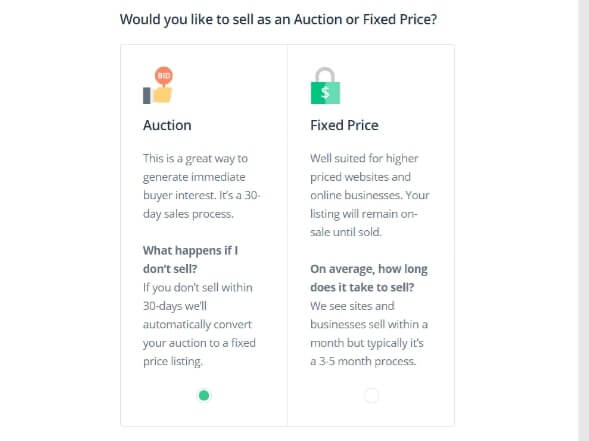 Flippa Auction or Fixed Price Listing