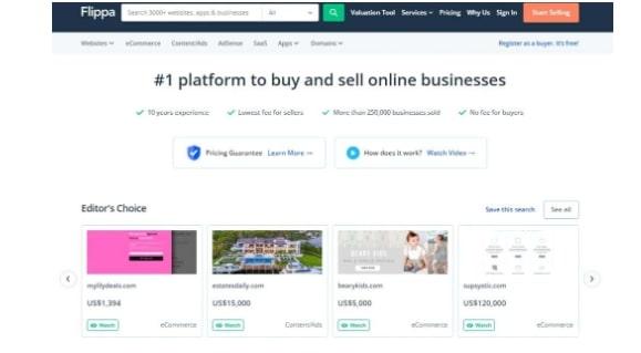 Flippa Review: Flippa Homepage