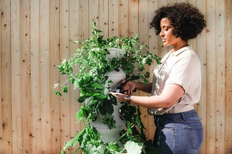 A mother gardening