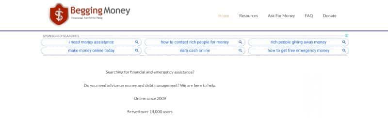 Begging Money website