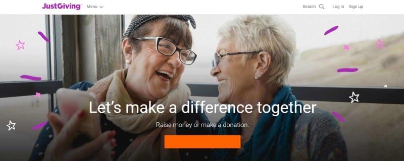 JustGiving website
