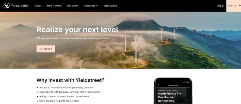 Yieldstreet website