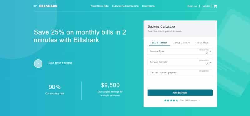 Billshark website