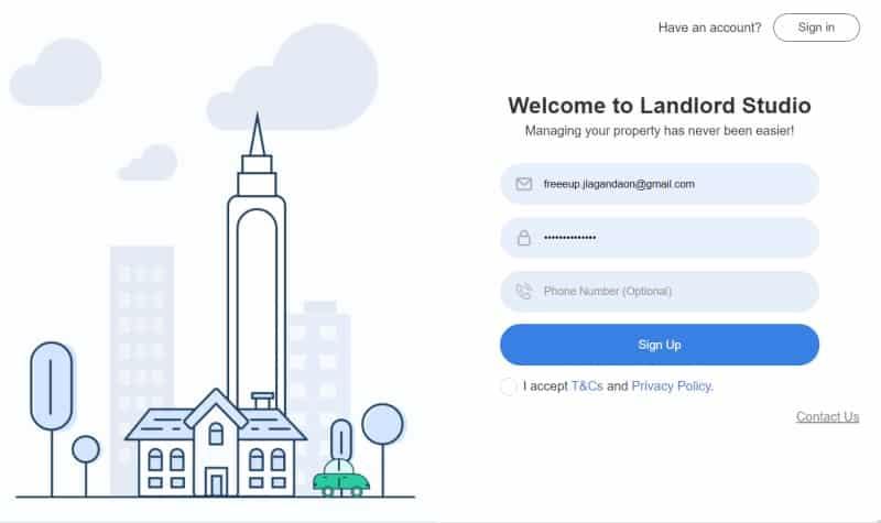 Landlord studio registration