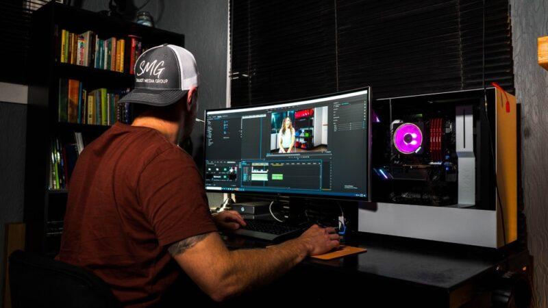 Man video editing