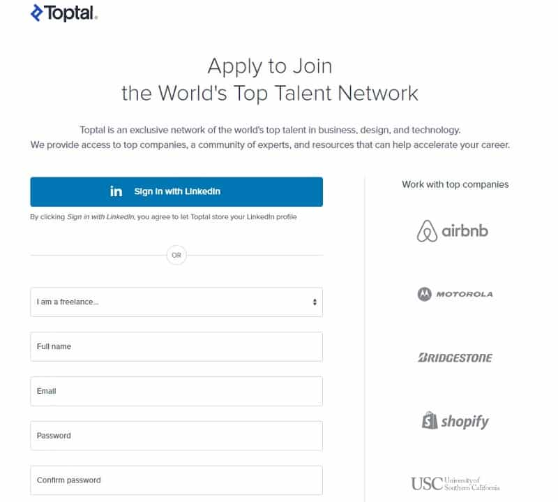 Toptal sign in form