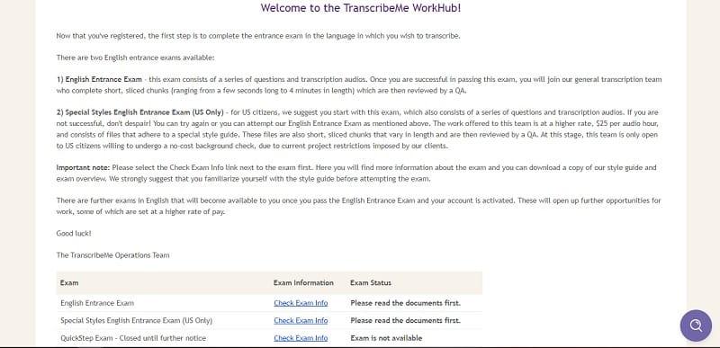 TranscribeMe entrance exam