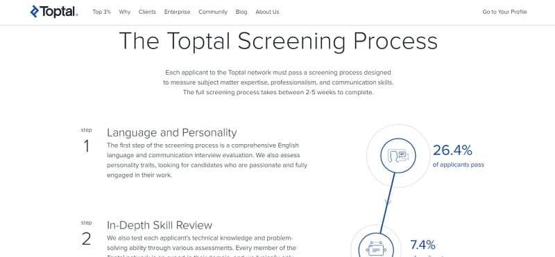 toptal screening
