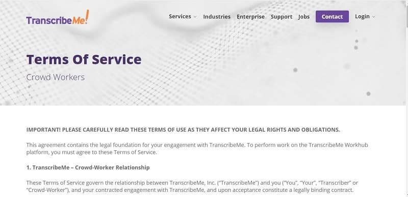 transcribeme terms of service