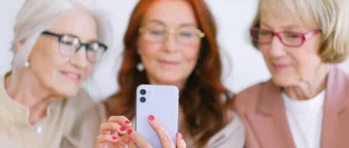 women using phone