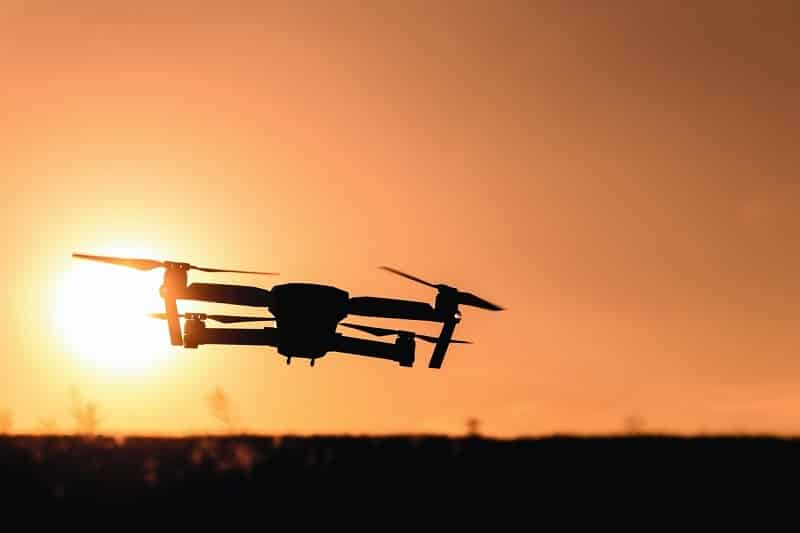 A drone during sunset