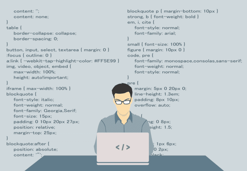 Illustration of programmer writing code