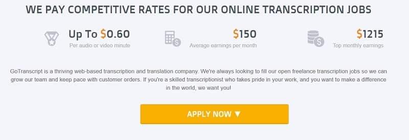 GoTranscript pay